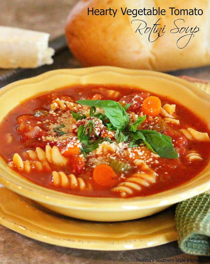 Hearty Vegetable-Tomato Rotini Soup is both light and hearty a most unusual combination. You can make this soup and leave the calories and the guilt behind.
