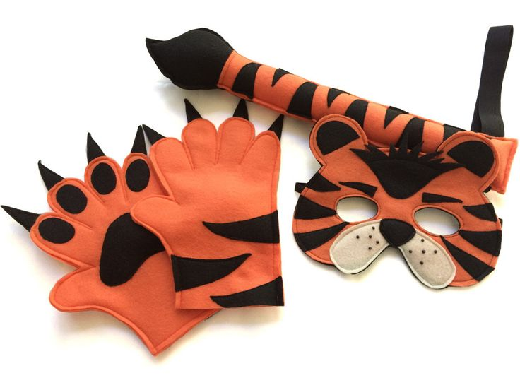 Children's Safari Jungle TIGER Animal Felt Costume Set Mask Tail and Paws by magicalattic on Etsy https://www.etsy.com/listing/246466275/childrens-safari-jungle-tiger-animal