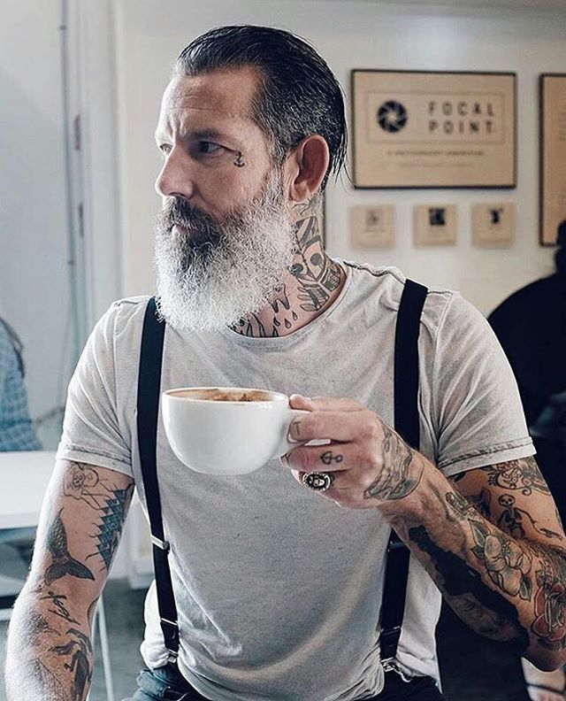 Coffee time ☕  Visit www.beardsaresexy.com to have your photo posted. (link in bio)   Combine your sexy beard with a killer hairstyle, follow @sexyhairstylemen  Model: @sir_ndrewsilver Lens: @ancapporcelain
