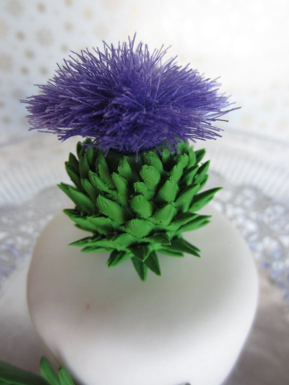 scottish thistle fondant | sugar Scottish Thistle cake topper a set of 3 by sweetbouquet, $20.00