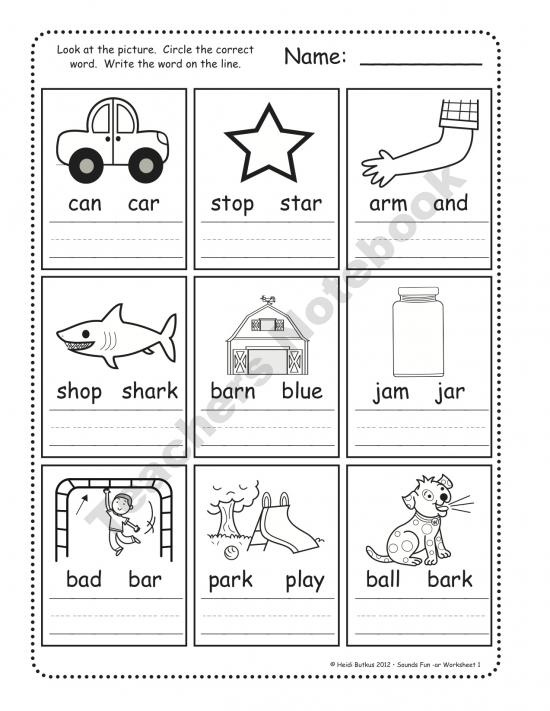 phonics,circle and write the right word Preschool