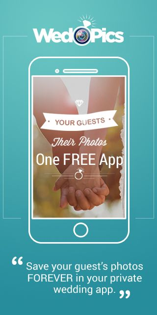 Your Weddings Guests will take A LOT of photos.  Ever think how you will get them all?  WedPics - The #1 Photo & Video Sharing App made just for YOUR wedding! It's FREE!