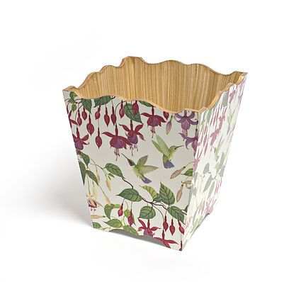 Fuchsia Waste Paper Bin by Crackpots Tissue boxes and Bins - hand decoupage wooden bin