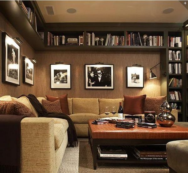 Black Basement Bookshelves - lots of shelving but leaves lots of wall space free