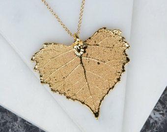 Tuffato collana ciondolo foglia di rame Cottonwood cuore