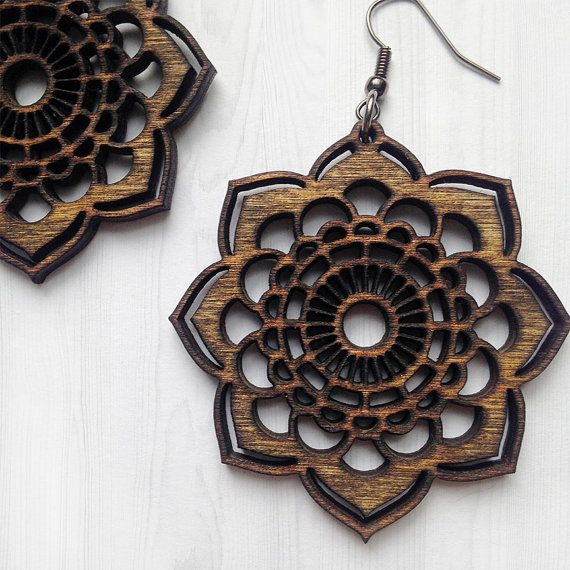 Wooden Mandala Earrings - Natural Jewelry, Laser Cut Earrings, Bohemian Earrings, Wooden Earrings, Light Weight Earrings, Wooden Jewelry