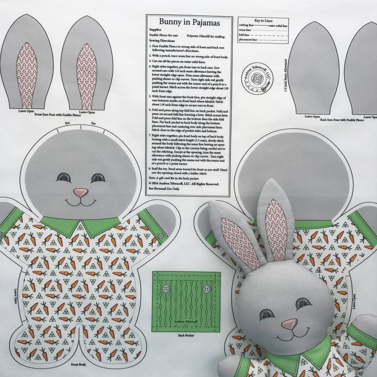 """Bunny in Pajamas"" is the best-selling fabric in my Spoonflower shop. I always have my Cut and Sew fabric panels printed on Kona Cotton. This fabric makes wonderful soft toys. You cut and sew and stuff ""Bunny in Pajamas"" following the directions. The finished toy will measure about 14 inches tall. All my Cut and Sew fabric panels are available in my Spoonflower shop. Link in Profile."