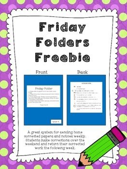 This is a freebie! I am sharing my Friday Folder printouts with you.  Each Friday I pass out the Friday Folders at the end of the day and my students bring them home.  They go through their folders with their parents over the weekend and make necessary corrections.
