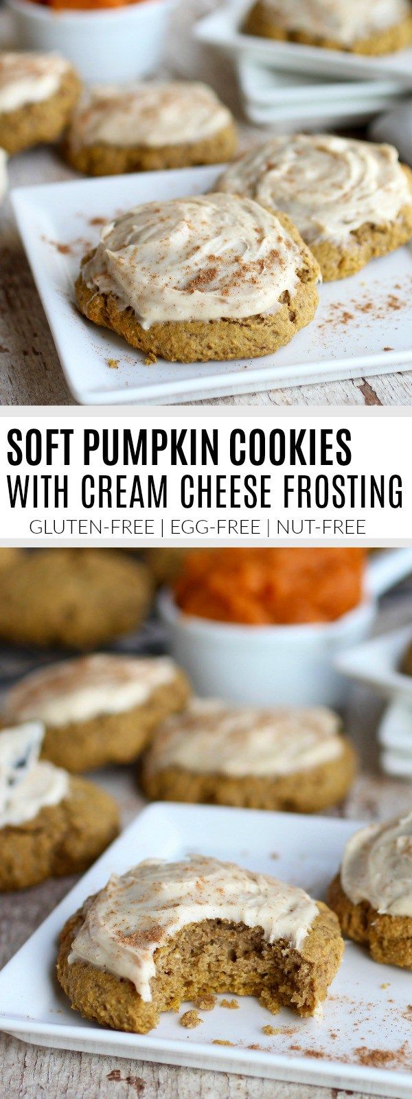 Soft Gluten-free Pumpkin Cookies with Cream Cheese Frosting