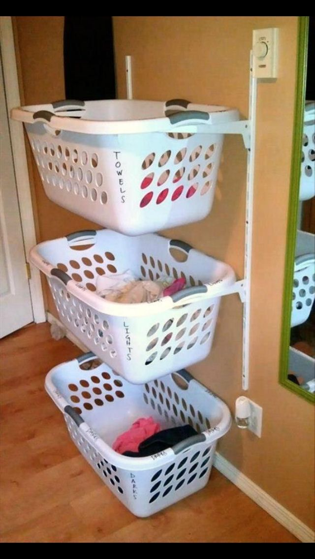 Hang shelf brackets to organize the laundry room or toys in a kids room!