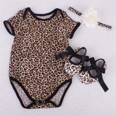 [ 16% OFF ] Newborn Leopard Infant Toddler Kids Romper Shoes Headband Set, Para Bebe Jumpsuit Cotton Bebe Girl Onepiece Rompers #7B3002