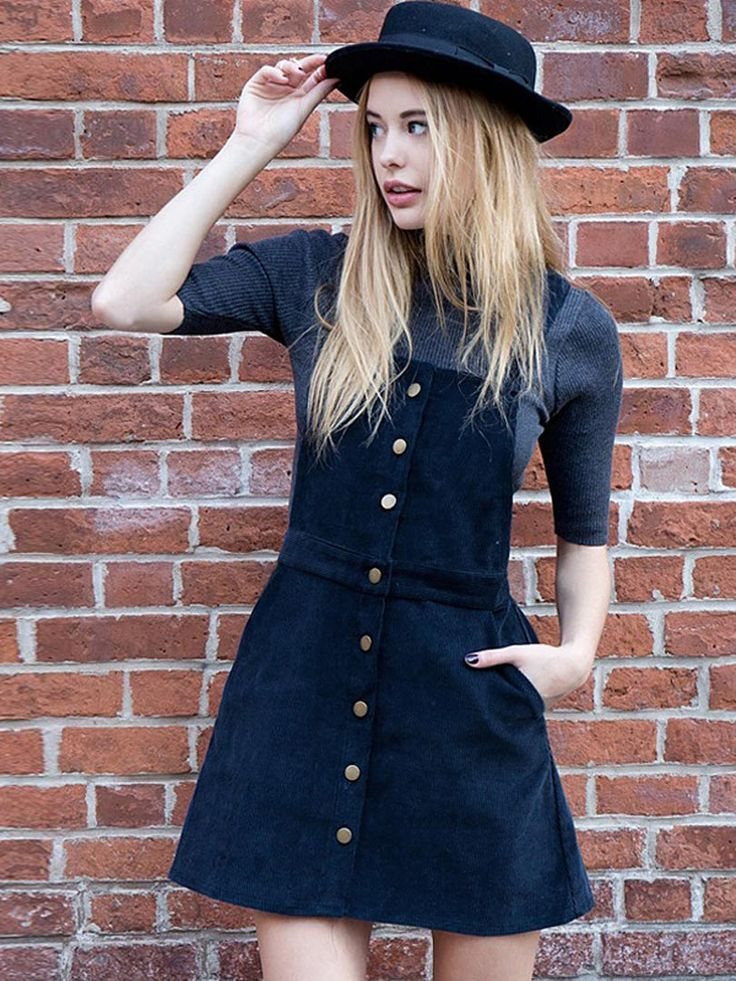 Shop Navy Button Up Detail A-line Pinafore Dress Free shipping Worldwide.$31.41