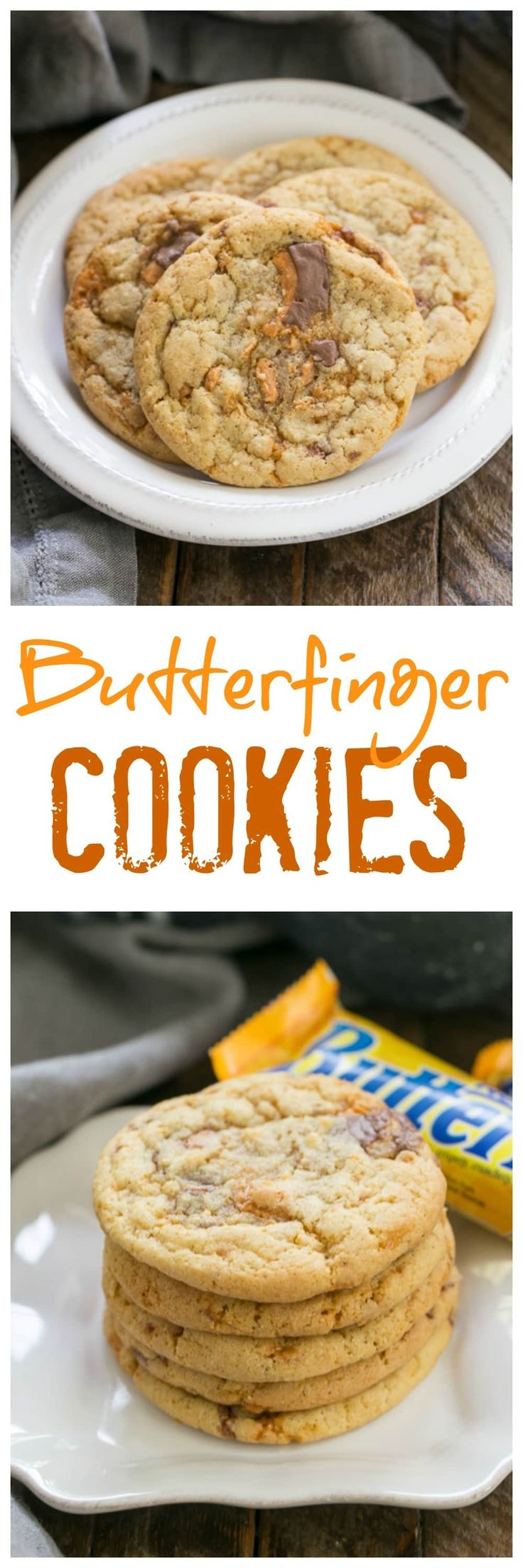 Butterfinger Cookies   Chewy, buttery cookies chock full of Butterfinger chunks @lizzydo