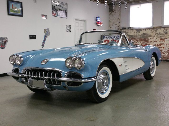 1960 Chevrolet, Corvette  79995.00 USD  Very Rare, 1 of 766 produced that year!  283/230 hp #'s matching engine 4 speed manual–correct shifter Two-Tone paint w/ White Coves Wonderbar Radio Sun Shades Heater Courtesy Light spare/jack/tools/board/mat. How could you not love this example? This 1960 features a white soft top, Wide White Wall tires and near Mint full caps. Pure 1950/60 Sports Car Classic ..  http://www.collectioncar.com/detailed.php?ad=59147&category_id=1