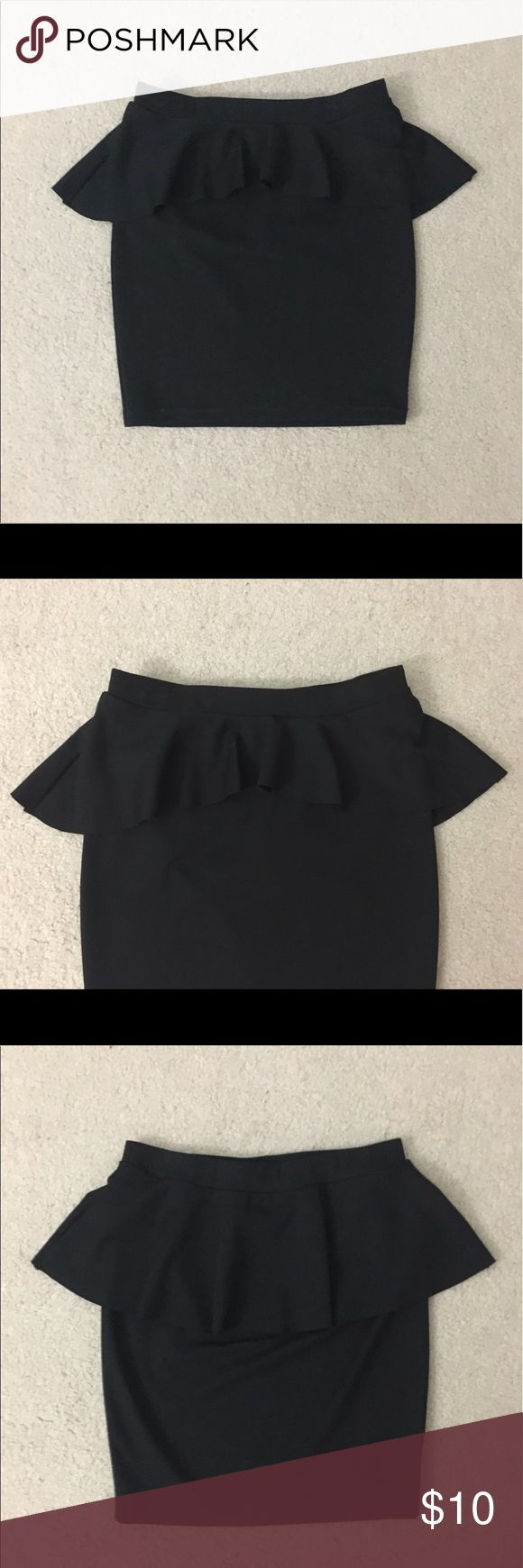 Candie's Black Peplum Skirt Description: Black peplum skirt that ends above the knee; slightly stretchy waist. Condition: pre-owned, like new. Brand: Candie's. Size: XS Candie's Skirts Pencil