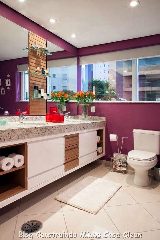 30 Dicas de Banheiros e Lavabos Decorados e Modernos!!!  Girls, Bathroom and -> Banheiro Moderno Com