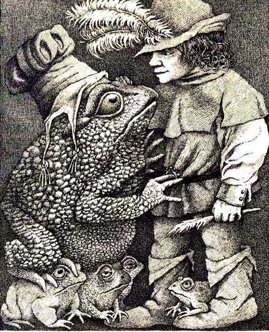 Maurice Sendak She gave him a ring that glittered with brilliants.    Picture from The Juniper Tree and Other Tales from Grimm