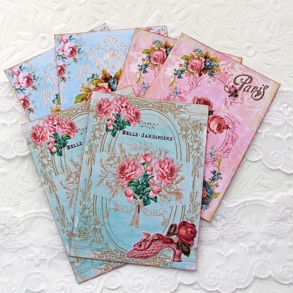 Paris Note Cards Teacups Scrapbooking by EnchantedQuilling on Etsy