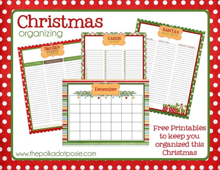 Free Christmas Organizing Printables: Santa's Supply List, Santa's Secret Gift List, Cards to Send list and December calendar.