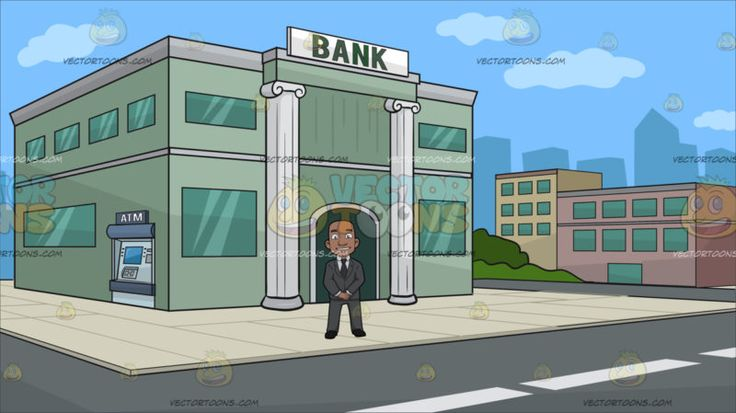 A Confident Black Bald Guy At Outside A Bank :  A bald man with dark skin wearing a white dress shirt gray necktie suit and pants black shoes smiles while standing straight hands down and together. Set in a bank building with green walls corinthian style column with a bank label written in bold green lettering green glass windows and an atm machine on the side a cream colored tile flooring around the building gray road and several low rise buildings around the block.