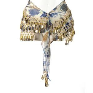 Belly Dance Hip Scarf - Blue Tie Dye With Gold Coins