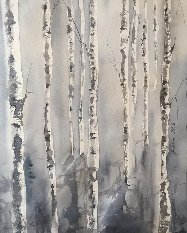 Lite fler björkar  More birches #björk #björkar #träd #tree #trees #watercolor #watercolour #akvarell #konst #art #painting  #birch #birches #aspentrees