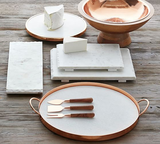 "Marble and Copper 19"" X 16"" Serve Tray 