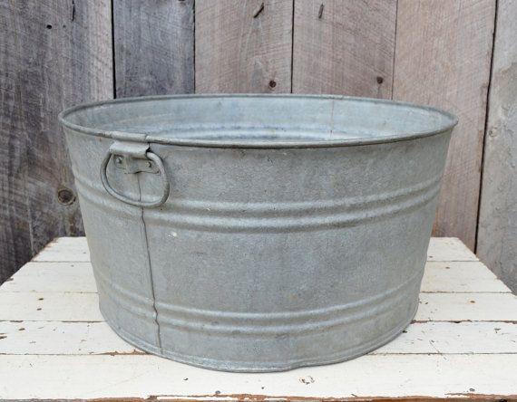 Round Galvanized Metal Wash Tub Handles Vintage Rustic
