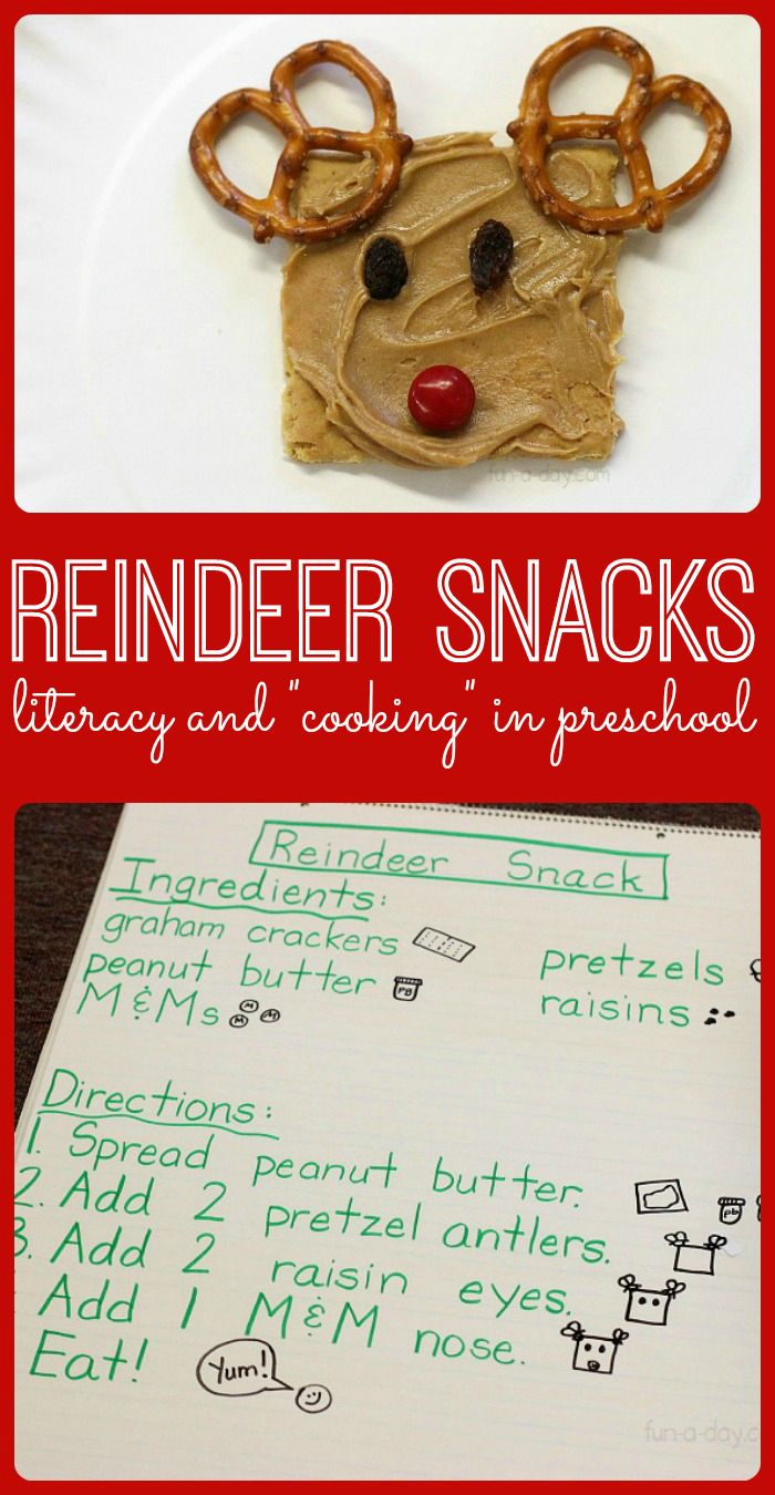 """Easy reindeer snack that kids can make themselves! Links to other reindeer-themed Christmas snacks for kids to try. Use a shared reading """"recipe"""" to link in literacy. #PLAYfulpreschool"""