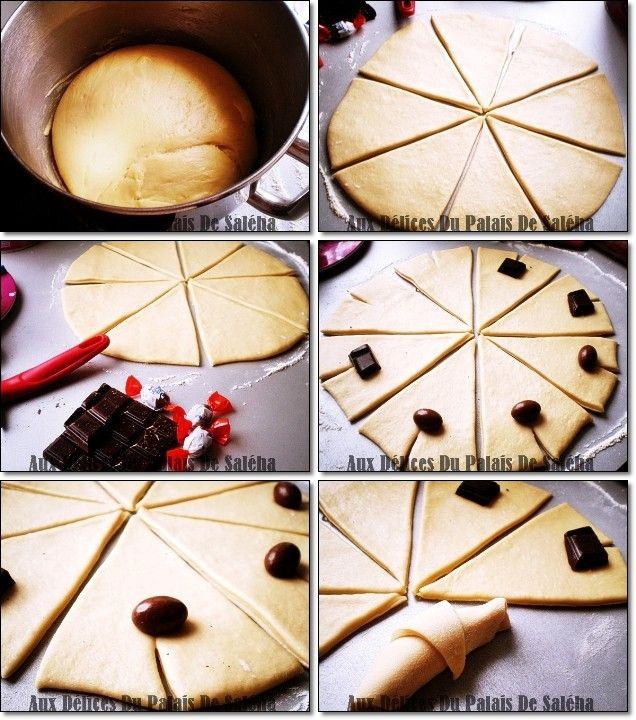 recette croissant brioché au chocolat étapes par étapes