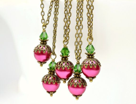Red hot pink fuchsia green bridesmaid by ArtemisBridalJewelry, $11.00