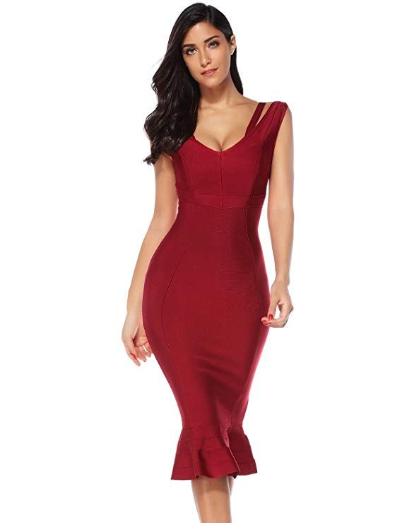 850259f9a18a Meilun Womes Fluted Hem Spaghetti Strap Evening Party Bandage Dress Party Bodycon  Dress (Wine