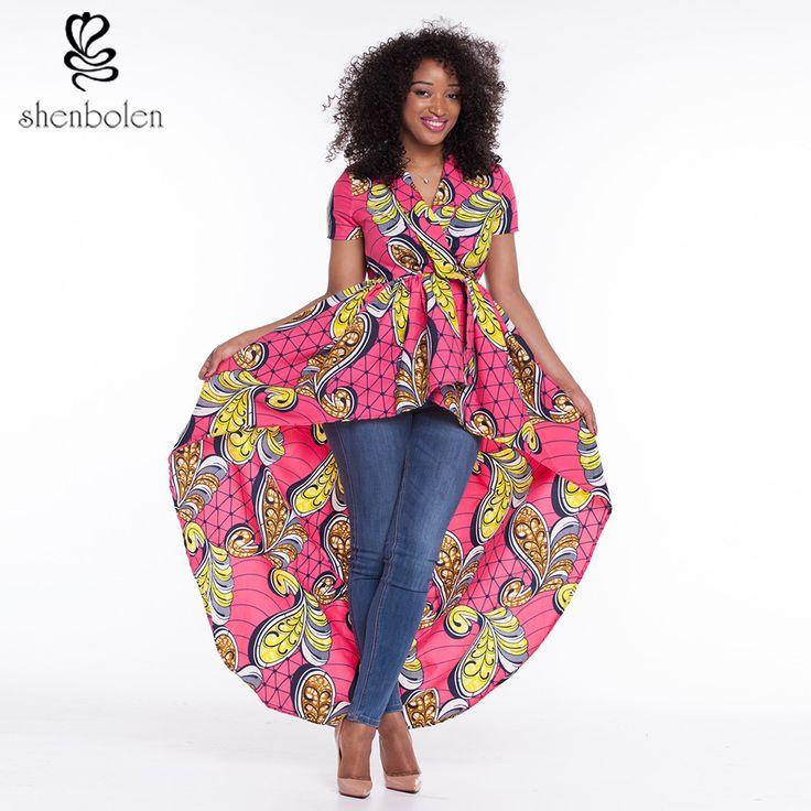 2016アフリカのドレスのため女性dashikiアンカラワックスプリントバティック純粋な綿ファッションセクシーな不規則なショートスリーブトップ送料無料