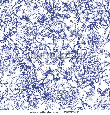 Retro Summer Seamless Monochrome Floral Pattern, Vintage Greeting Bouquet, Vector illustration. Roses. Poppies. Bluebells. Peony. Lily