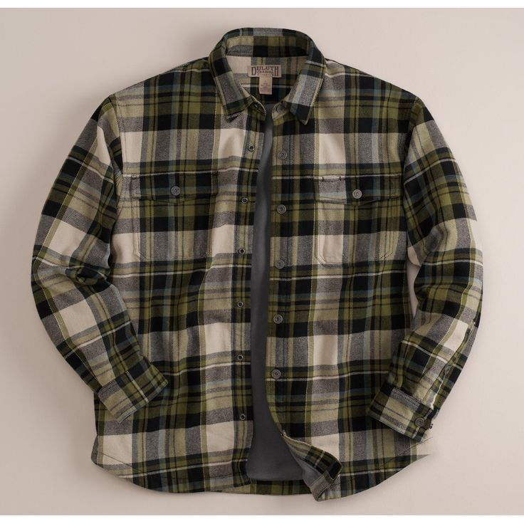 Green black plaid duluth trading co men 39 s flapjack for Green and black plaid flannel shirt