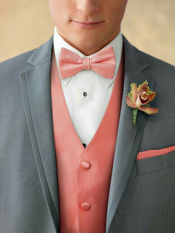 Coral and grey: the guys will look so handsome in our colors from American Commodore