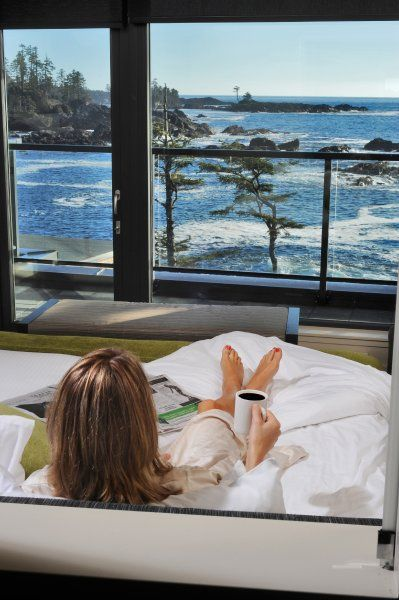 Storm watching from a bed at Black Rock Oceanfront Resort in Ucluelet, BC