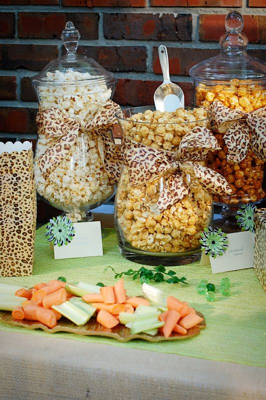 we could fill glass container similar to these with all kinds of snacks and wrap a animal print ribbon or a canvas colored ribbon around it