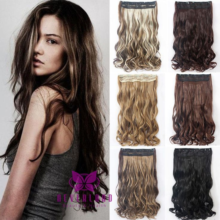"""Beauty 22"""" 5 Clips One Piece Long Curly Wavy Clip In Hair Extensions Synthetic False Hairpiece for Party B15"""