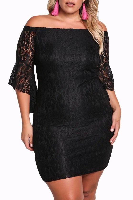 Plus Size Off Shoulder Black Lace Bodycon Dress modeshe.com