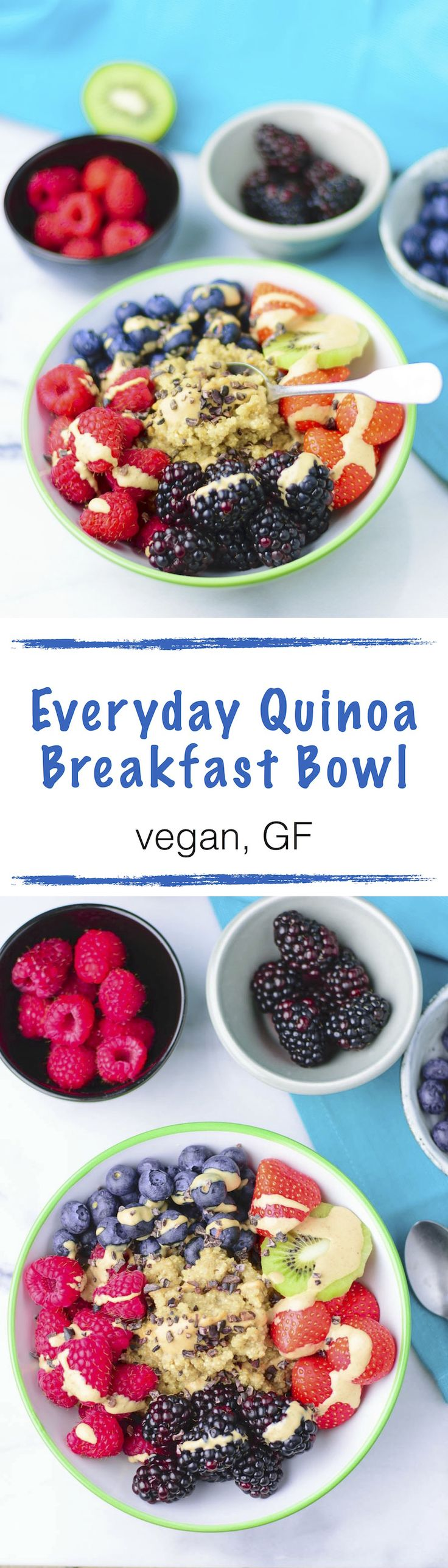 My easy Everyday Quinoa Breakfast Bowl is an awesome way to have #quinoa for breakfast. It's a #vegan and #glutenfree recipe that combines quinoa cooked in almond milk with fresh fruit and a sprinkle of nut butter. Charge your batteries to full with this breakfast quinoa.
