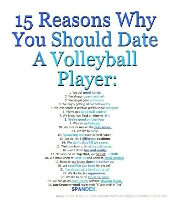 Reasons to date a volleyball player
