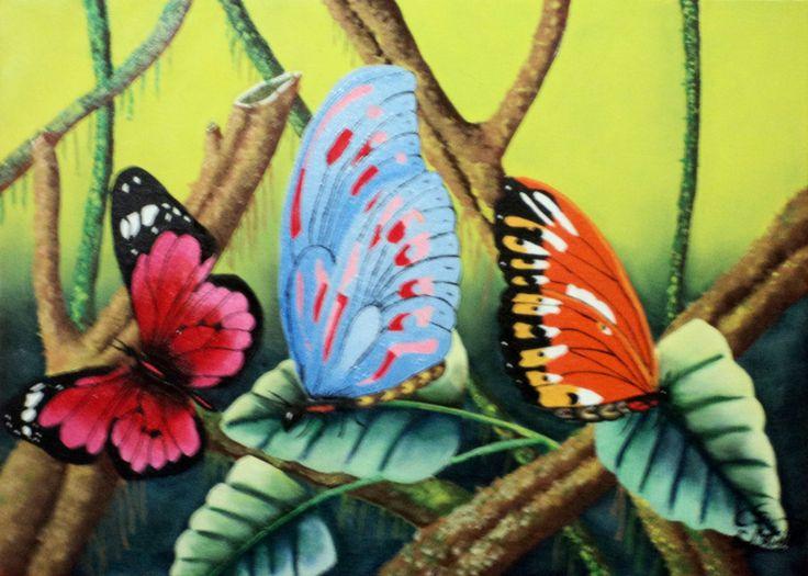 Mariposas Técnica: Óleo sobre lienzo Dimensiones: 61 cm. x 43 cm.