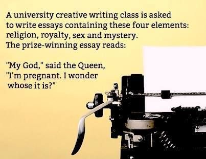 Creative writing with elements of religion, royalty, sex, and mystery  https://www.facebook.com/Writers.Write.Company/photos/793587324001924