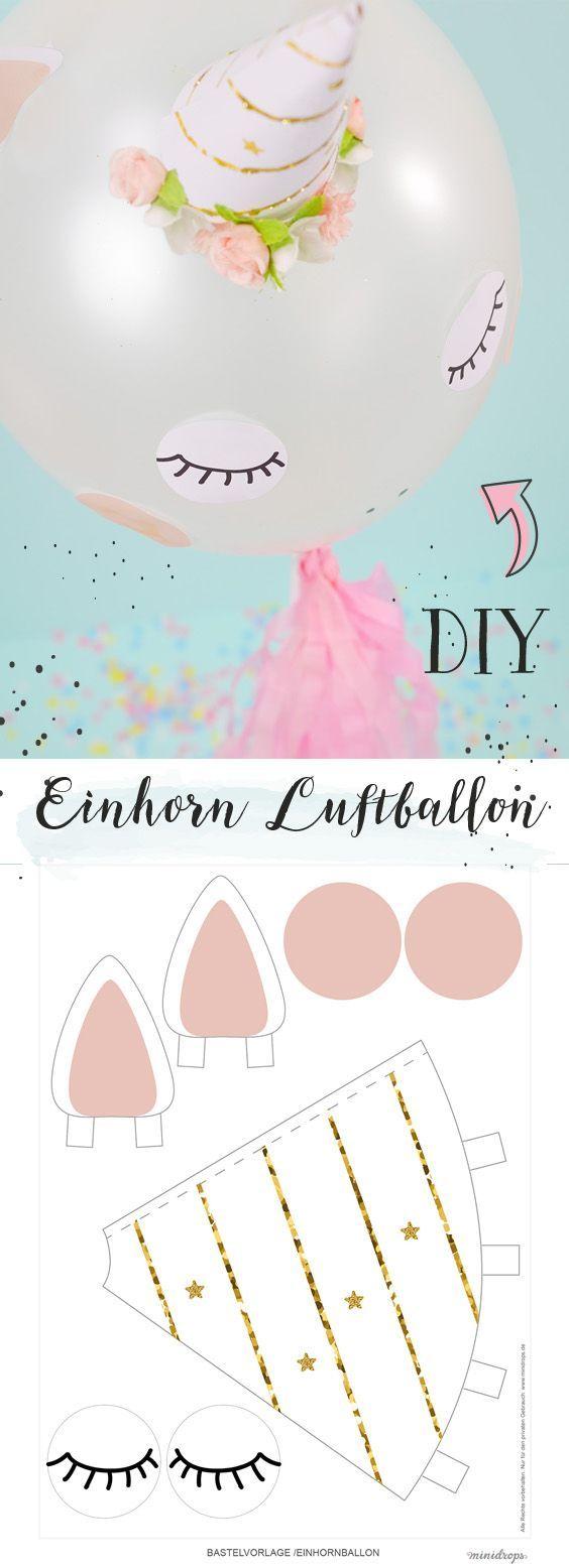 DIY Einhorn Luftballon selber basteln - ganz einfach mit unserer Bastelvorlage. Sehr süß für eine Einhornparty! Von Minidrops // Einhorn Einhornparty Kindergeburtstag