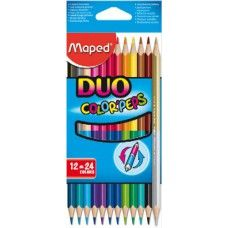 Maped Duo 12 darabos, 24 színű háromszög alakú színes ceruza készlet - Színes ceruzák - 1,089Ft