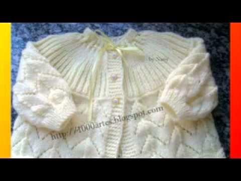 Ropón o chaquetita fácil tejida en dos agujas para bebes - YouTube