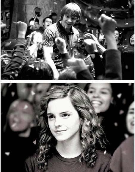 Hermione Granger and Ron Weasley.  Harry Potter.  Emma Watson and Rupert Grint.