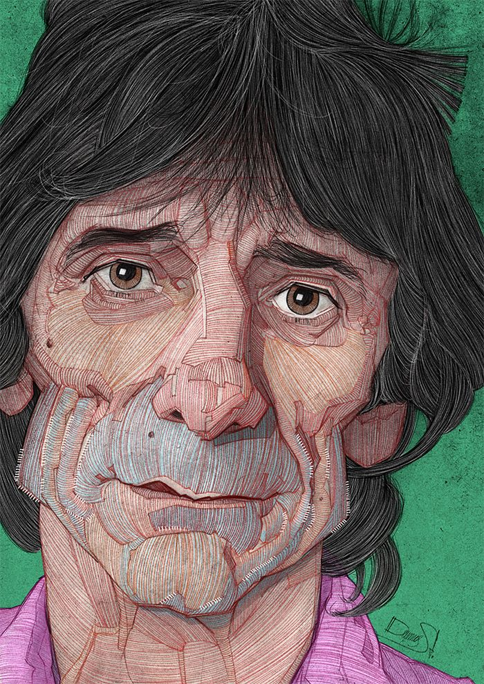 The Rolling Stones: Illustrated Portraits by Stavros Damos   Inspiration Grid   Design Inspiration
