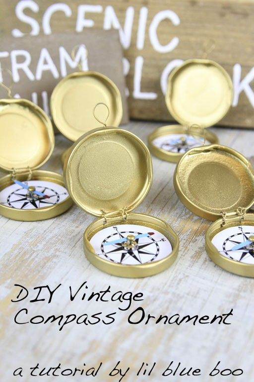 DIY Ornament Ideas - How to make a compass ornament - recycled bottle caps -MichaelsMakers Lil Blue Boo